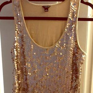 Ann Taylor gold sequins tank top